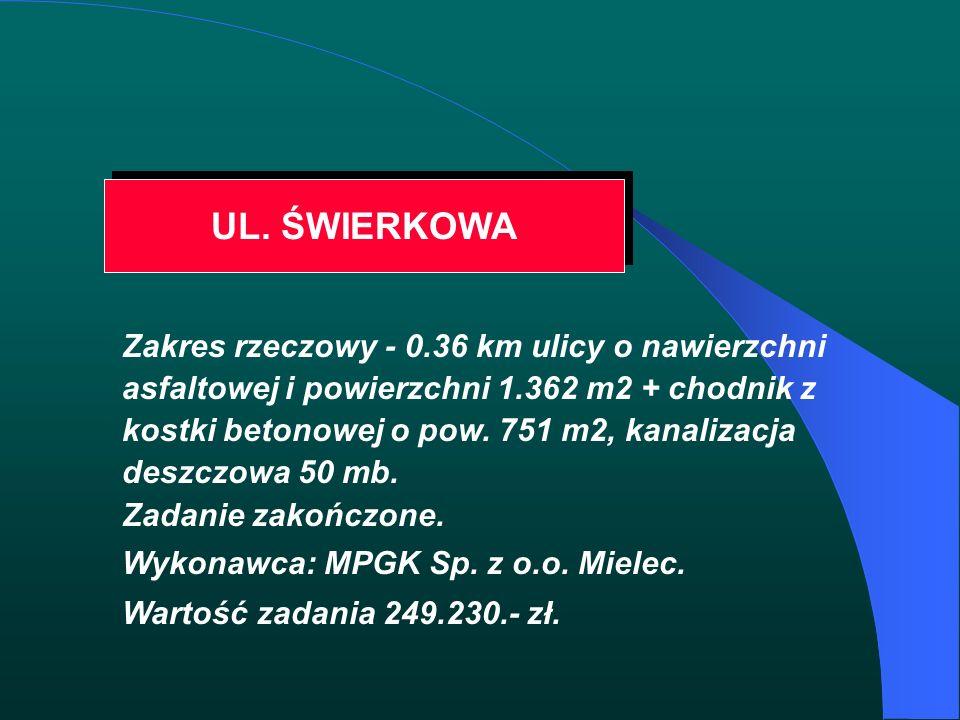 UL. ŚWIERKOWA Zakres rzeczowy - 0.36 km ulicy o nawierzchni asfaltowej i powierzchni 1.362 m2 + chodnik z kostki betonowej o pow. 751 m2, kanalizacja