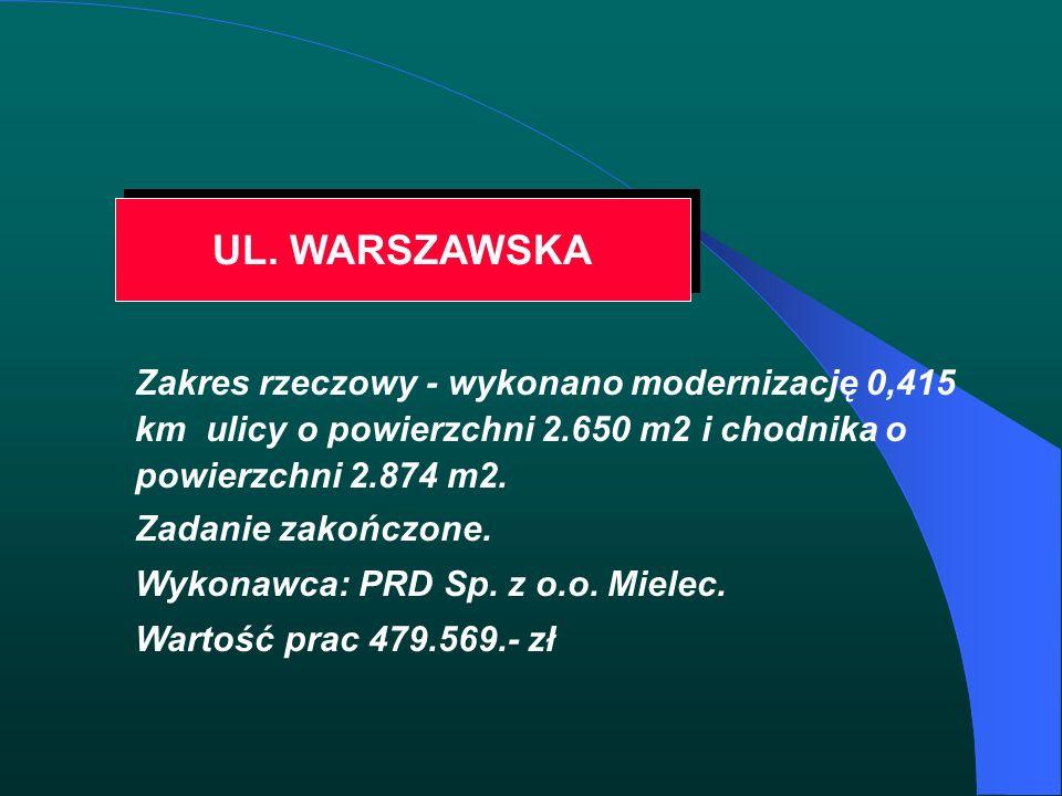 UL. WARSZAWSKA Zakres rzeczowy - wykonano modernizację 0,415 km ulicy o powierzchni 2.650 m2 i chodnika o powierzchni 2.874 m2. Zadanie zakończone. Wy