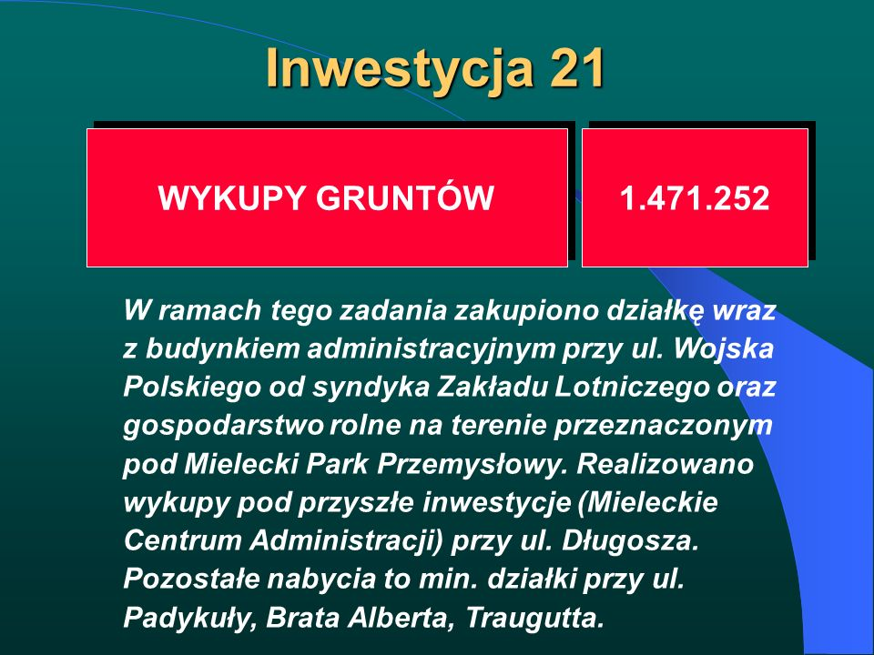 Inwestycja 21 WYKUPY GRUNTÓW 1.471.252 W ramach tego zadania zakupiono działkę wraz z budynkiem administracyjnym przy ul. Wojska Polskiego od syndyka