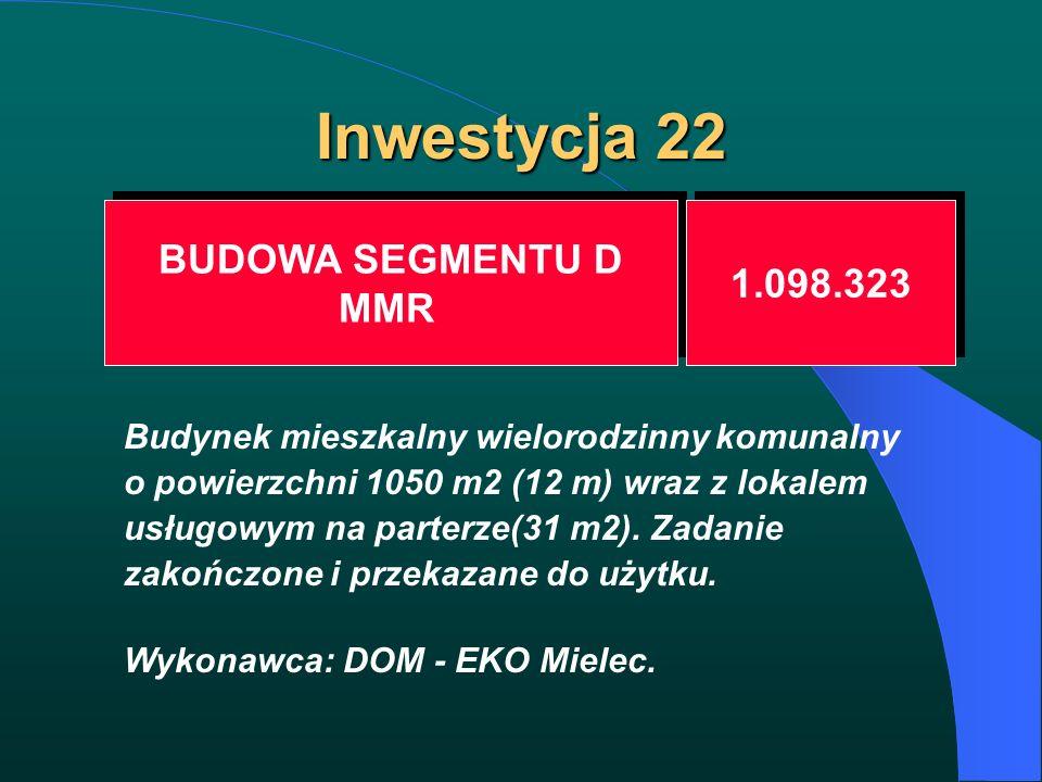 Inwestycja 22 BUDOWA SEGMENTU D MMR BUDOWA SEGMENTU D MMR 1.098.323 Budynek mieszkalny wielorodzinny komunalny o powierzchni 1050 m2 (12 m) wraz z lok
