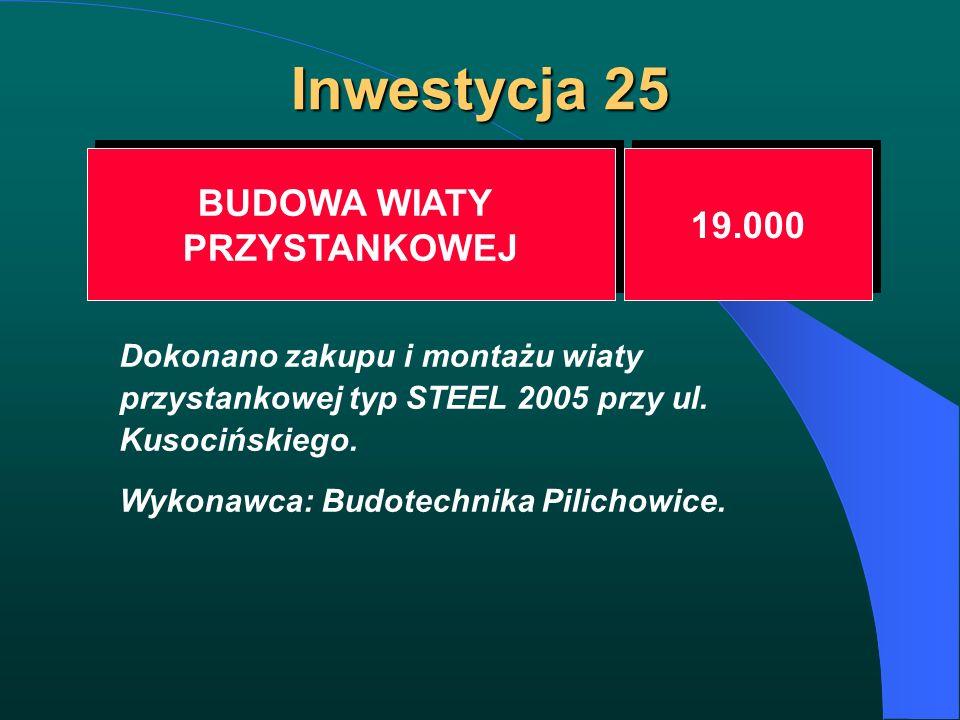 Inwestycja 25 BUDOWA WIATY PRZYSTANKOWEJ BUDOWA WIATY PRZYSTANKOWEJ 19.000 Dokonano zakupu i montażu wiaty przystankowej typ STEEL 2005 przy ul. Kusoc