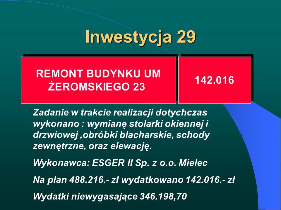 Inwestycja 29 REMONT BUDYNKU UM ŻEROMSKIEGO 23 REMONT BUDYNKU UM ŻEROMSKIEGO 23 142.016 Zadanie w trakcie realizacji dotychczas wykonano : wymianę sto