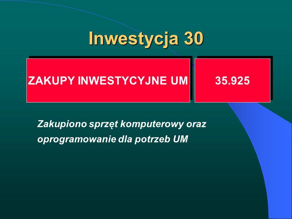 Inwestycja 30 ZAKUPY INWESTYCYJNE UM 35.925 Zakupiono sprzęt komputerowy oraz oprogramowanie dla potrzeb UM