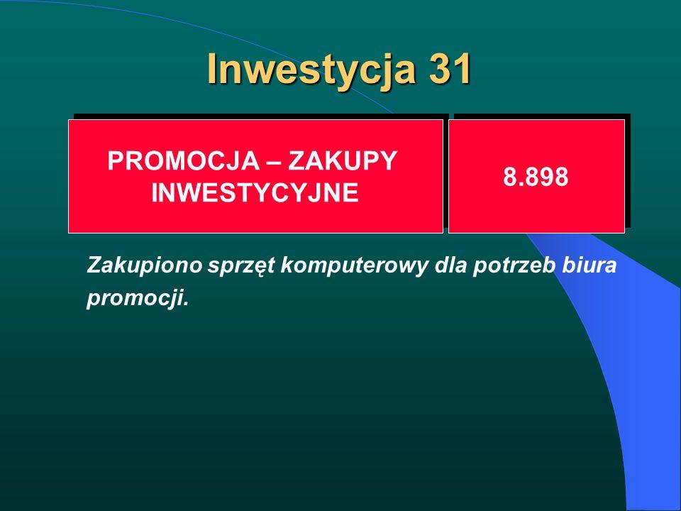 Inwestycja 31 PROMOCJA – ZAKUPY INWESTYCYJNE PROMOCJA – ZAKUPY INWESTYCYJNE 8.898 Zakupiono sprzęt komputerowy dla potrzeb biura promocji.