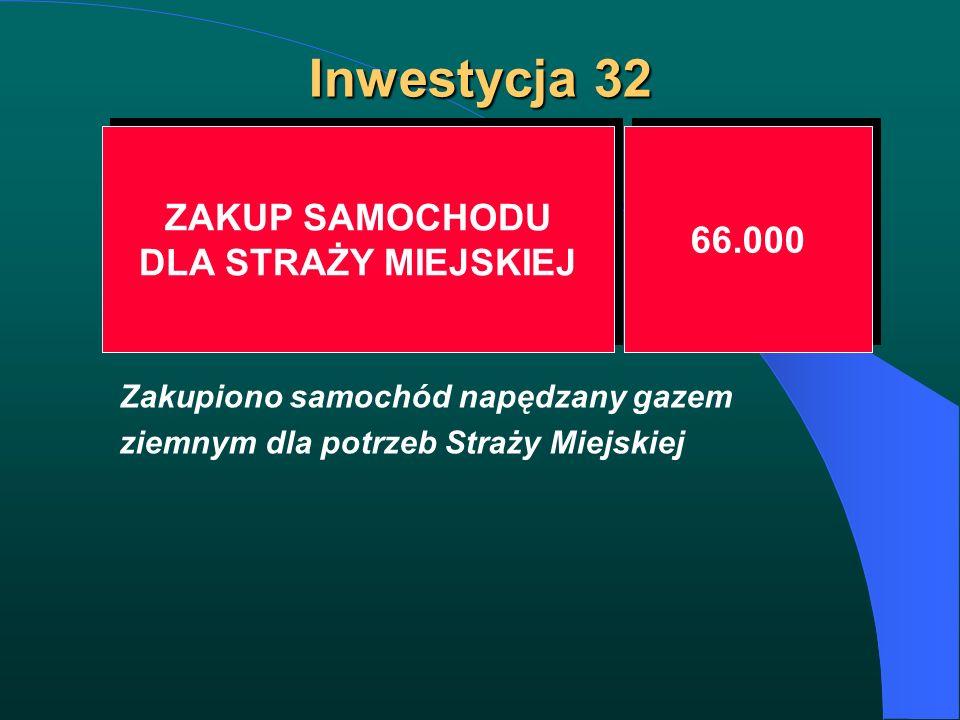 Inwestycja 32 ZAKUP SAMOCHODU DLA STRAŻY MIEJSKIEJ ZAKUP SAMOCHODU DLA STRAŻY MIEJSKIEJ 66.000 Zakupiono samochód napędzany gazem ziemnym dla potrzeb