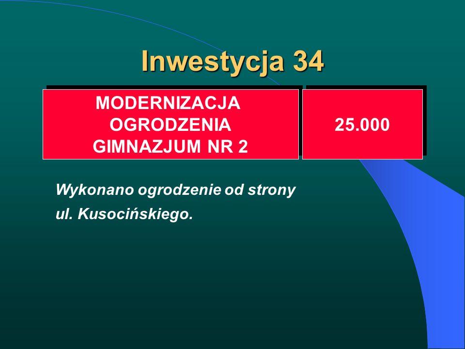 Inwestycja 34 MODERNIZACJA OGRODZENIA GIMNAZJUM NR 2 MODERNIZACJA OGRODZENIA GIMNAZJUM NR 2 25.000 Wykonano ogrodzenie od strony ul. Kusocińskiego.