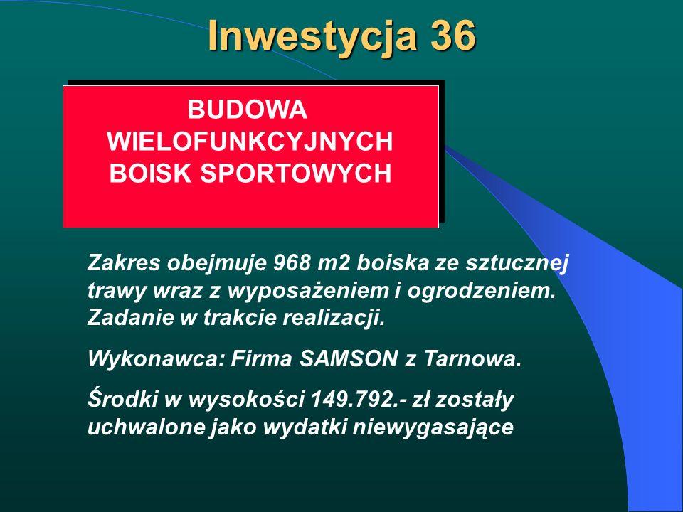 Inwestycja 36 BUDOWA WIELOFUNKCYJNYCH BOISK SPORTOWYCH BUDOWA WIELOFUNKCYJNYCH BOISK SPORTOWYCH Zakres obejmuje 968 m2 boiska ze sztucznej trawy wraz