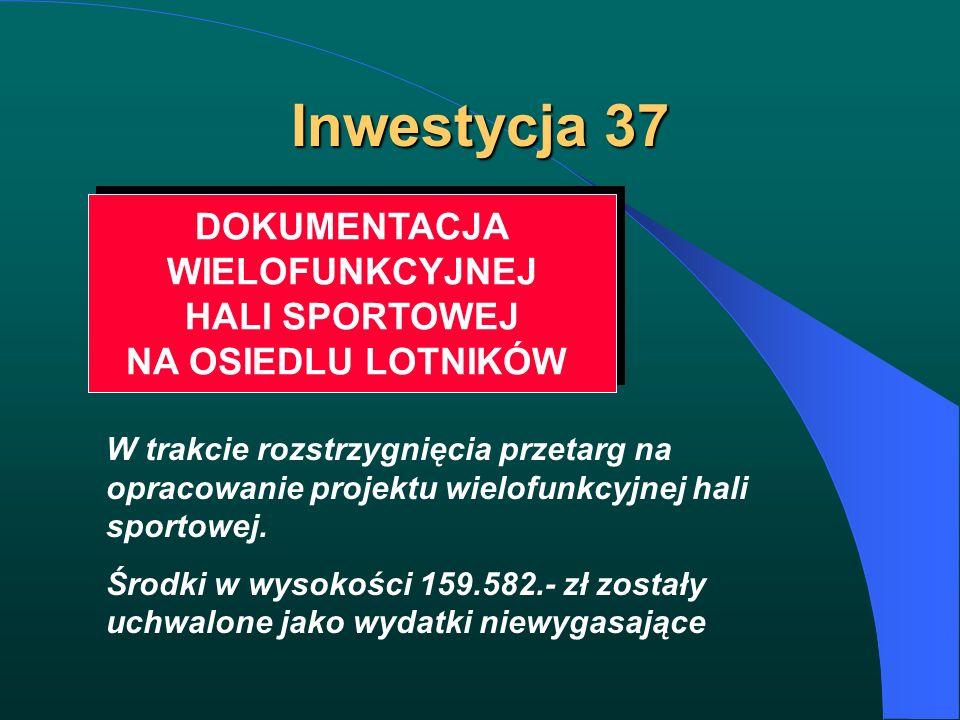 Inwestycja 37 DOKUMENTACJA WIELOFUNKCYJNEJ HALI SPORTOWEJ NA OSIEDLU LOTNIKÓW DOKUMENTACJA WIELOFUNKCYJNEJ HALI SPORTOWEJ NA OSIEDLU LOTNIKÓW W trakci
