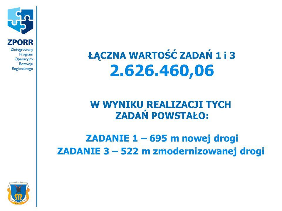 ŁĄCZNA WARTOŚĆ ZADAŃ 1 i 3 2.626.460,06 W WYNIKU REALIZACJI TYCH ZADAŃ POWSTAŁO: ZADANIE 1 – 695 m nowej drogi ZADANIE 3 – 522 m zmodernizowanej drogi