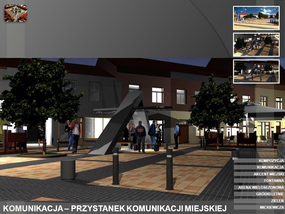 AKCENT MIEJSKI - PÓŁNOCNY W północnym oraz południowym narożniku placu zaprojektowano postument przeznaczony pod instalację zmiennej rzeźby lub stałego akcentu miejskiego.