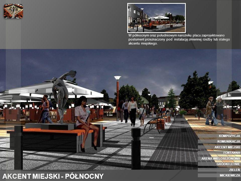 AKCENT MIEJSKI - POŁUDNIOWY Postumenty pełnia także rolę siedziska miejskiego GRÓDKI LETNIE ZIELEŃ ARENA WIELOSEZONOWA AKCENT MIEJSKI FONTANNA KOMPOZYCJA KOMUNIKACJA MICKIEWICZA