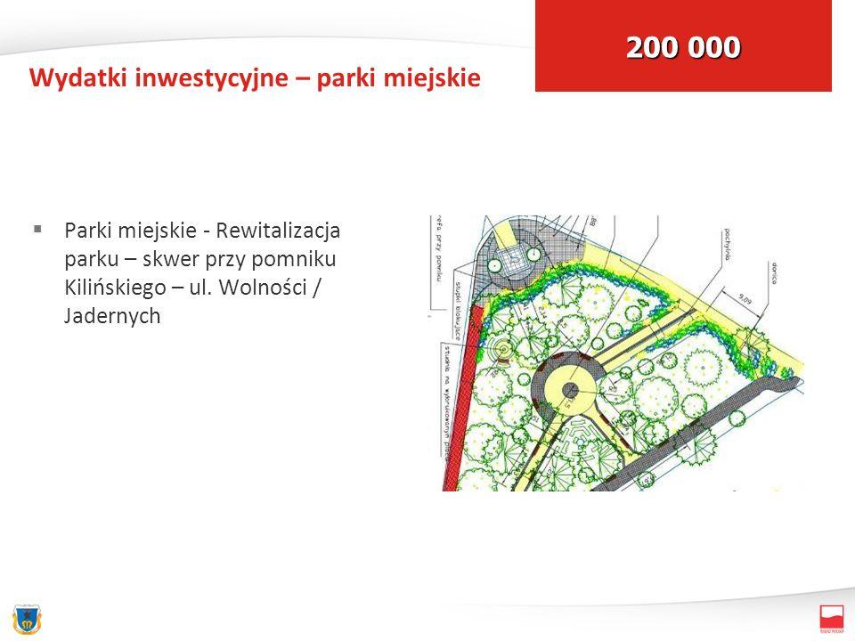 Wydatki inwestycyjne – parki miejskie Parki miejskie - Rewitalizacja parku – skwer przy pomniku Kilińskiego – ul. Wolności / Jadernych 200 000