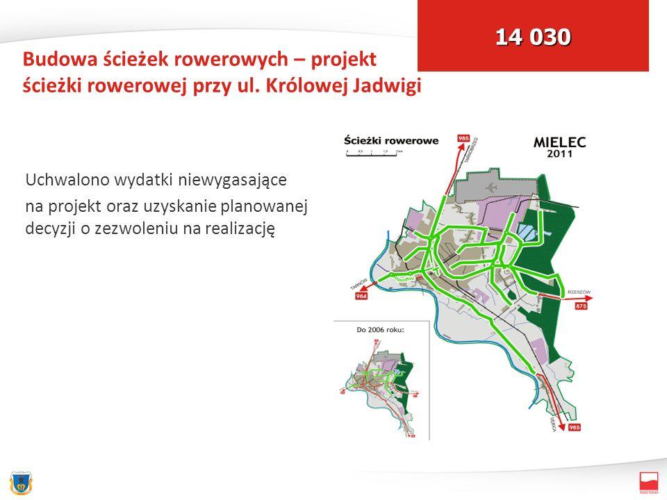 Budowa ścieżek rowerowych – projekt ścieżki rowerowej przy ul. Królowej Jadwigi Uchwalono wydatki niewygasające na projekt oraz uzyskanie planowanej d