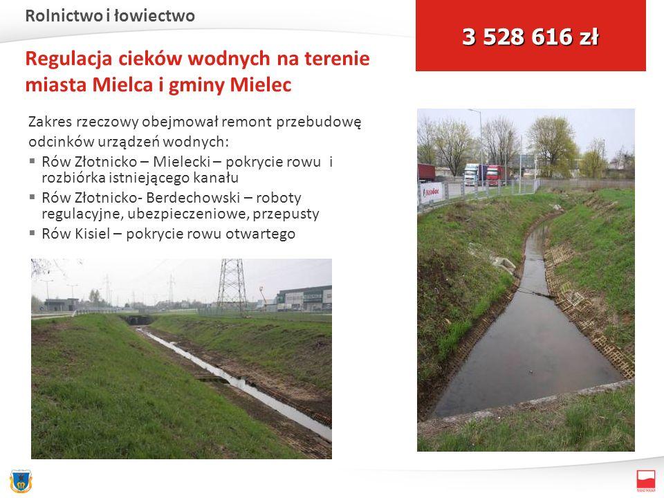 Regulacja cieków wodnych na terenie miasta Mielca i gminy Mielec Zakres rzeczowy obejmował remont przebudowę odcinków urządzeń wodnych: Rów Złotnicko