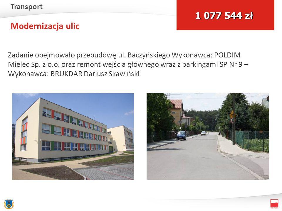Modernizacja ulic Zadanie obejmowało przebudowę ul. Baczyńskiego Wykonawca: POLDIM Mielec Sp. z o.o. oraz remont wejścia głównego wraz z parkingami SP