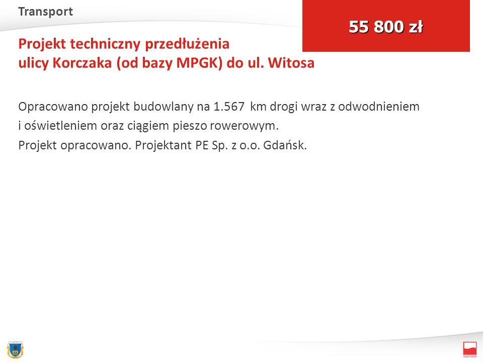 Projekt techniczny przedłużenia ulicy Korczaka (od bazy MPGK) do ul. Witosa Opracowano projekt budowlany na 1.567 km drogi wraz z odwodnieniem i oświe