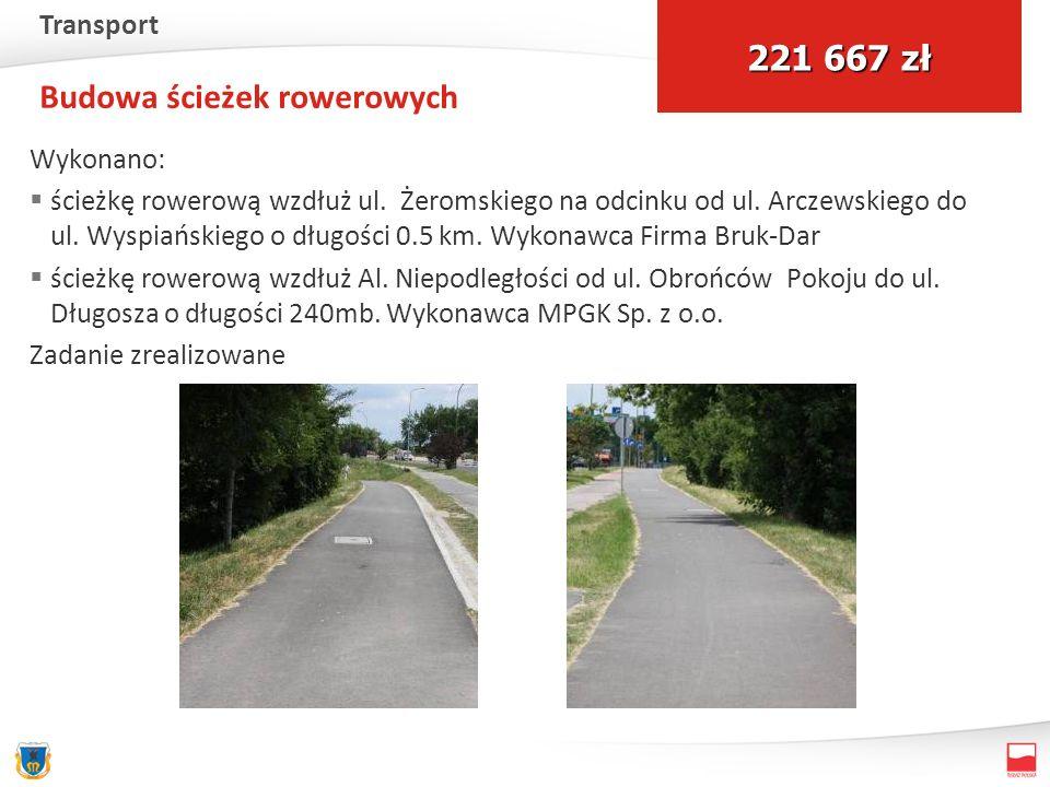 Budowa ścieżek rowerowych Wykonano: ścieżkę rowerową wzdłuż ul. Żeromskiego na odcinku od ul. Arczewskiego do ul. Wyspiańskiego o długości 0.5 km. Wyk
