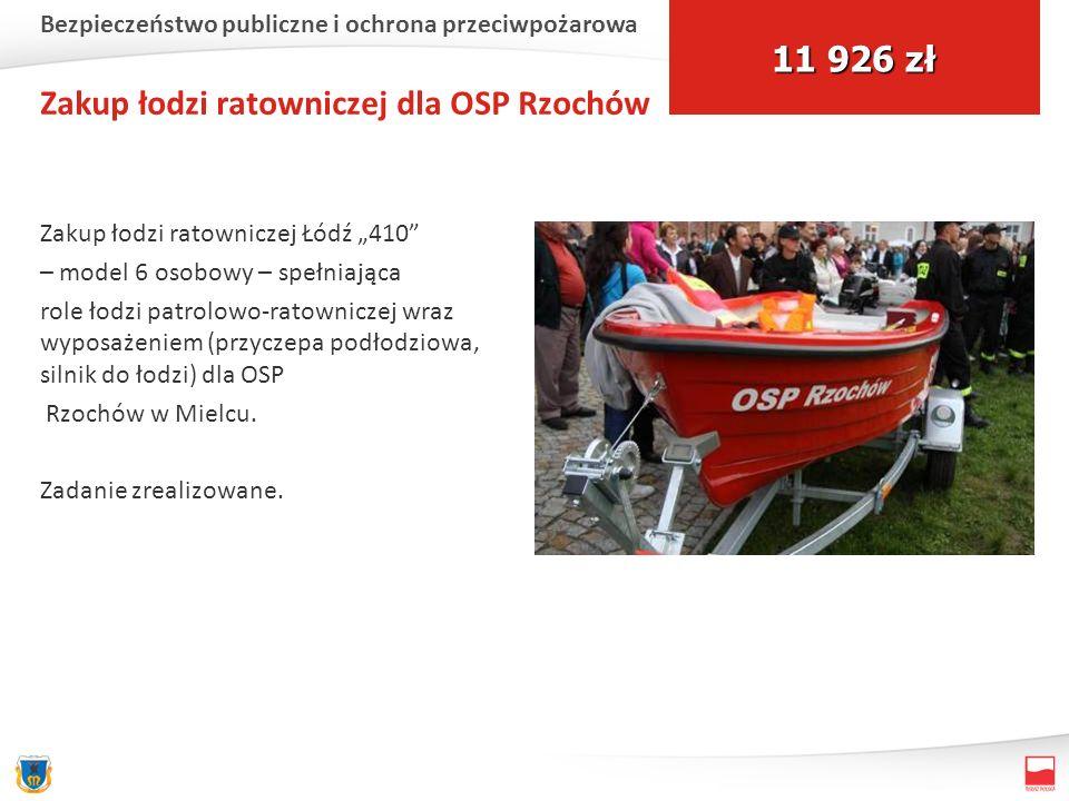 Zakup łodzi ratowniczej dla OSP Rzochów Zakup łodzi ratowniczej Łódź 410 – model 6 osobowy – spełniająca role łodzi patrolowo-ratowniczej wraz wyposażeniem (przyczepa podłodziowa, silnik do łodzi) dla OSP Rzochów w Mielcu.