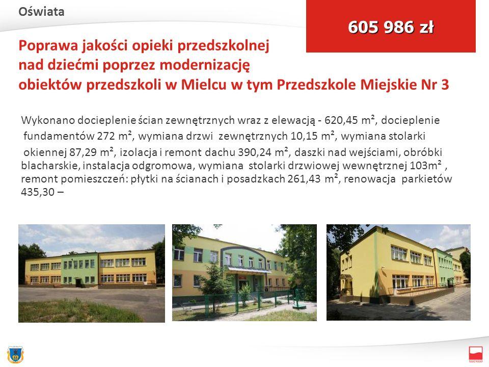 Poprawa jakości opieki przedszkolnej nad dziećmi poprzez modernizację obiektów przedszkoli w Mielcu w tym Przedszkole Miejskie Nr 3 Wykonano docieplenie ścian zewnętrznych wraz z elewacją - 620,45 m², docieplenie fundamentów 272 m², wymiana drzwi zewnętrznych 10,15 m², wymiana stolarki okiennej 87,29 m², izolacja i remont dachu 390,24 m², daszki nad wejściami, obróbki blacharskie, instalacja odgromowa, wymiana stolarki drzwiowej wewnętrznej 103m², remont pomieszczeń: płytki na ścianach i posadzkach 261,43 m², renowacja parkietów 435,30 – 605 986 zł Oświata