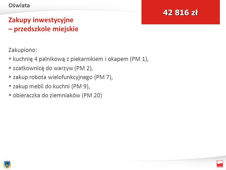 Zakupy inwestycyjne – przedszkole miejskie Zakupiono: kuchnię 4 palnikową z piekarnikiem i okapem (PM 1), szatkownicę do warzyw (PM 2), zakup robota wielofunkcyjnego (PM 7), zakup mebli do kuchni (PM 9), obieraczka do ziemniaków (PM 20) 42 816 zł Oświata