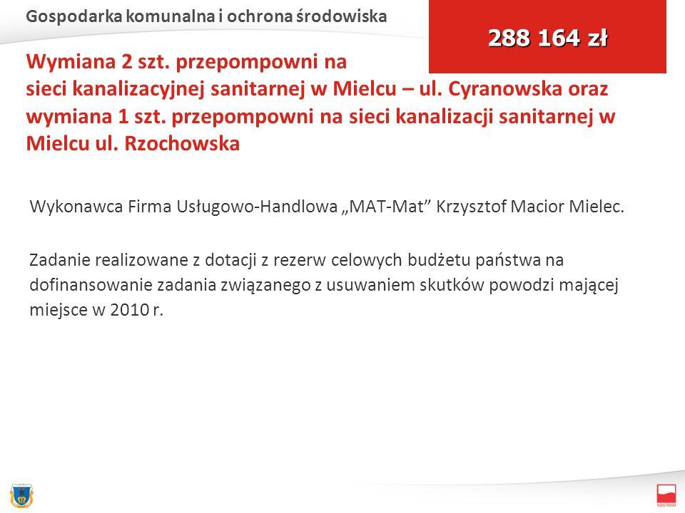 Wymiana 2 szt. przepompowni na sieci kanalizacyjnej sanitarnej w Mielcu – ul. Cyranowska oraz wymiana 1 szt. przepompowni na sieci kanalizacji sanitar