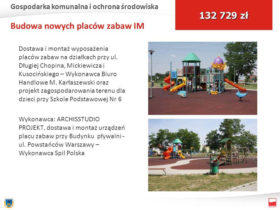 Budowa nowych placów zabaw IM Dostawa i montaż wyposażenia placów zabaw na działkach przy ul. Długiej Chopina, Mickiewicza i Kusocińskiego – Wykonawca