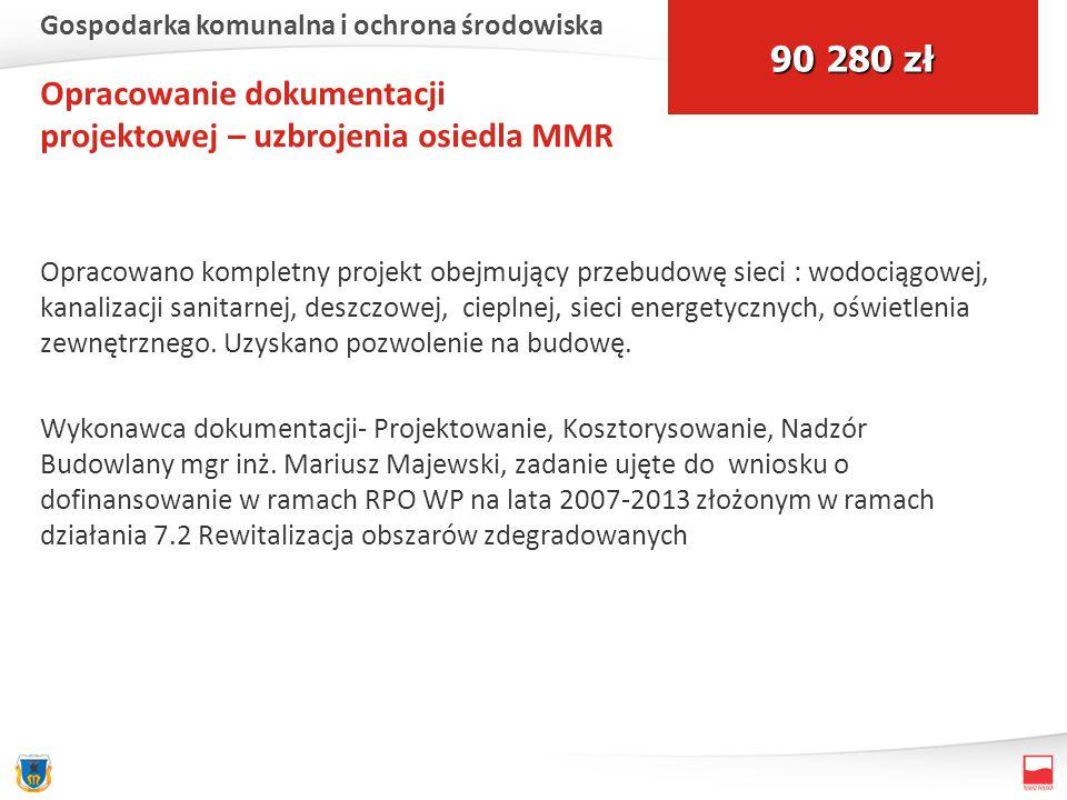Opracowanie dokumentacji projektowej – uzbrojenia osiedla MMR Opracowano kompletny projekt obejmujący przebudowę sieci : wodociągowej, kanalizacji san