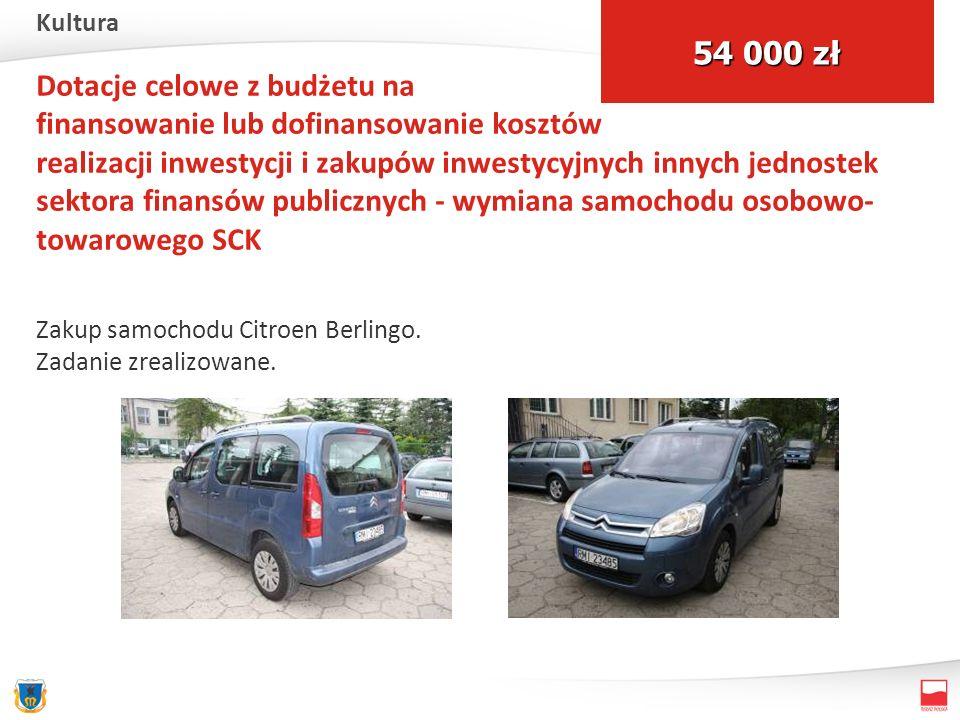 Dotacje celowe z budżetu na finansowanie lub dofinansowanie kosztów realizacji inwestycji i zakupów inwestycyjnych innych jednostek sektora finansów publicznych - wymiana samochodu osobowo- towarowego SCK Zakup samochodu Citroen Berlingo.