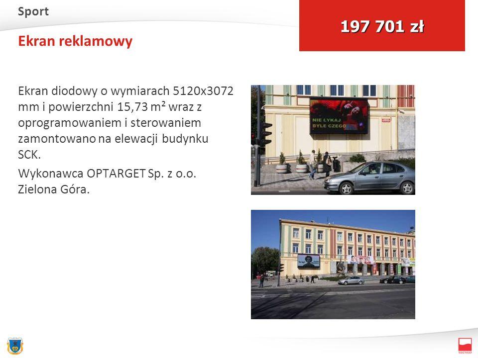Ekran reklamowy Ekran diodowy o wymiarach 5120x3072 mm i powierzchni 15,73 m² wraz z oprogramowaniem i sterowaniem zamontowano na elewacji budynku SCK.