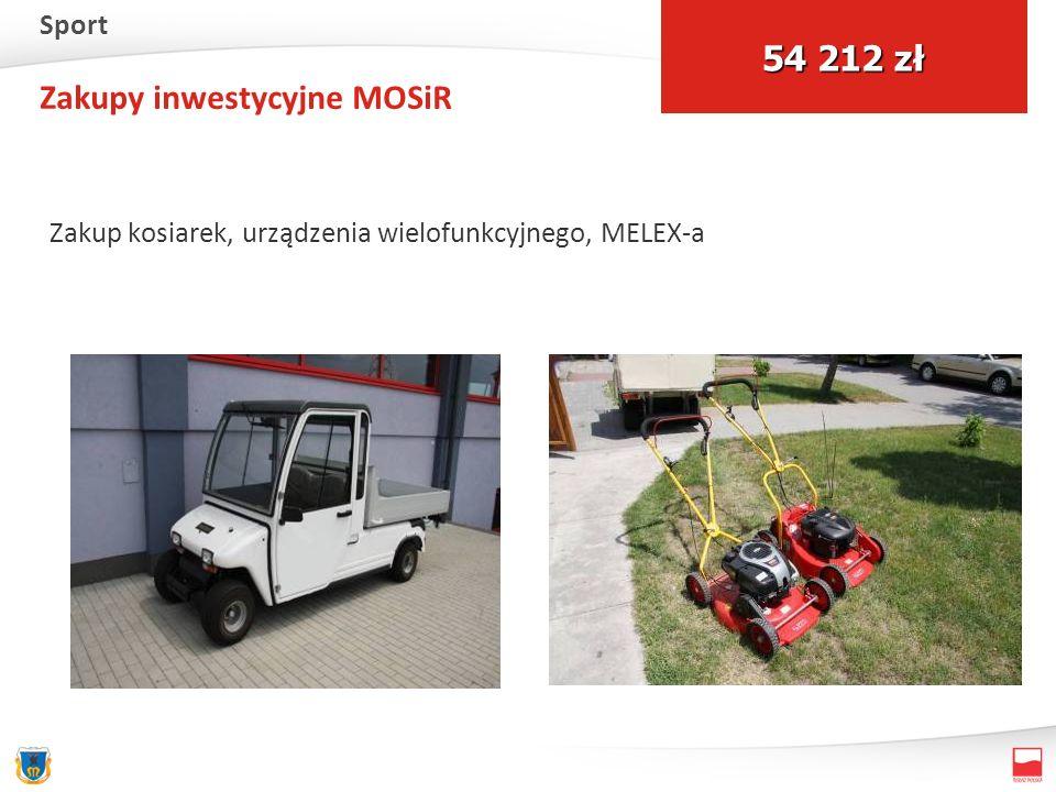 Zakupy inwestycyjne MOSiR Zakup kosiarek, urządzenia wielofunkcyjnego, MELEX-a 54 212 zł Sport