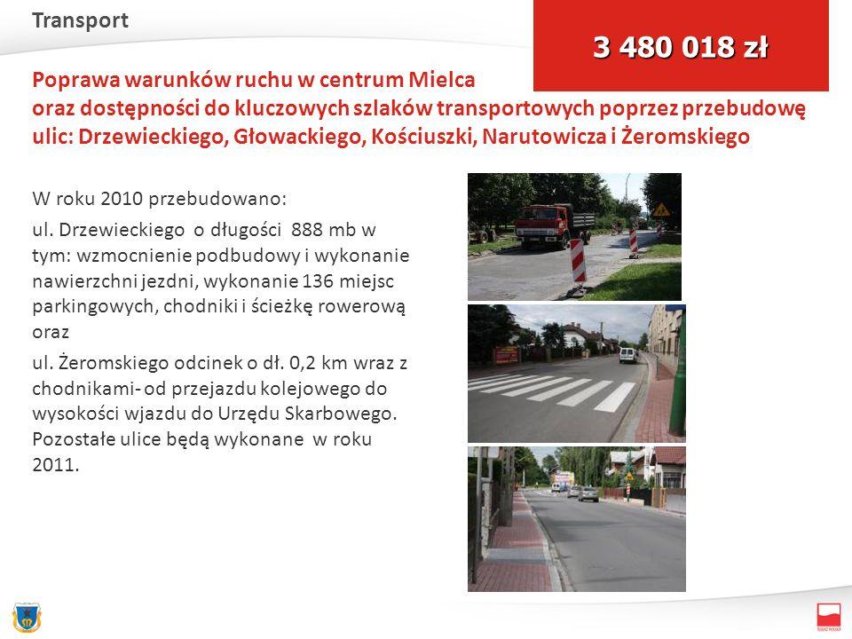 Poprawa warunków ruchu w centrum Mielca oraz dostępności do kluczowych szlaków transportowych poprzez przebudowę ulic: Drzewieckiego, Głowackiego, Kościuszki, Narutowicza i Żeromskiego W roku 2010 przebudowano: ul.