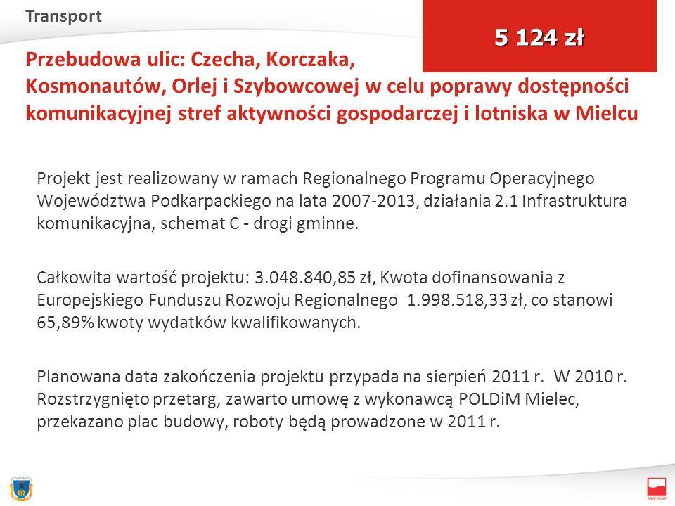 Przebudowa ulic: Czecha, Korczaka, Kosmonautów, Orlej i Szybowcowej w celu poprawy dostępności komunikacyjnej stref aktywności gospodarczej i lotniska w Mielcu Projekt jest realizowany w ramach Regionalnego Programu Operacyjnego Województwa Podkarpackiego na lata 2007-2013, działania 2.1 Infrastruktura komunikacyjna, schemat C - drogi gminne.