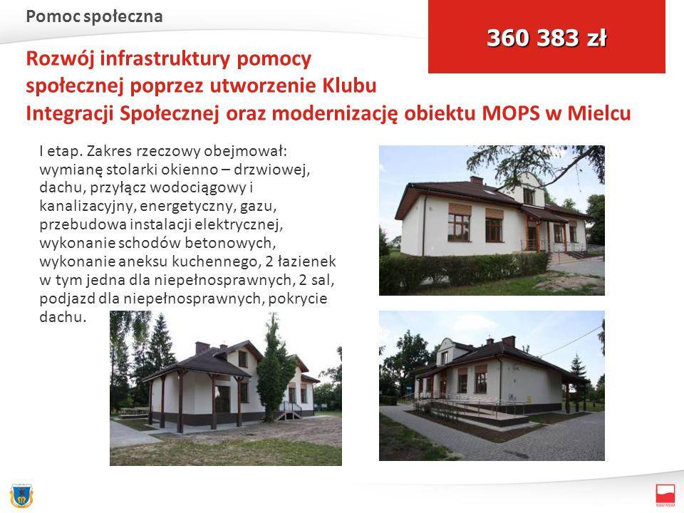 Rozwój infrastruktury pomocy społecznej poprzez utworzenie Klubu Integracji Społecznej oraz modernizację obiektu MOPS w Mielcu I etap. Zakres rzeczowy