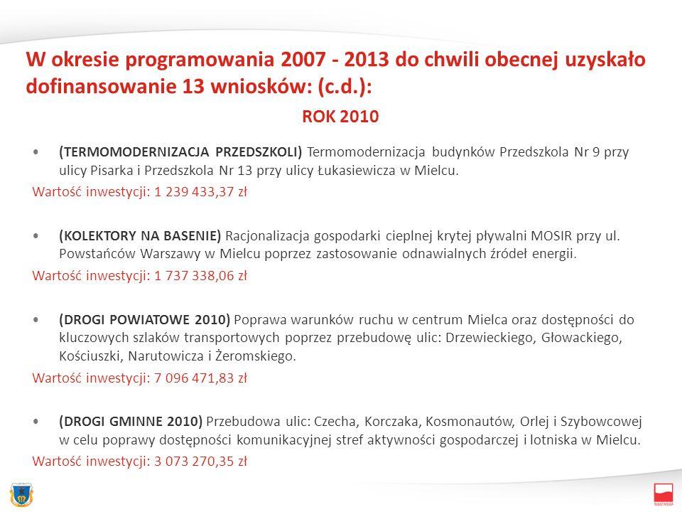 W okresie programowania 2007 - 2013 do chwili obecnej uzyskało dofinansowanie 13 wniosków: (c.d.): ROK 2010 (TERMOMODERNIZACJA PRZEDSZKOLI) Termomodernizacja budynków Przedszkola Nr 9 przy ulicy Pisarka i Przedszkola Nr 13 przy ulicy Łukasiewicza w Mielcu.