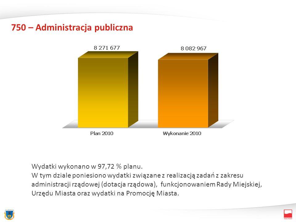 750 – Administracja publiczna Wydatki wykonano w 97,72 % planu. W tym dziale poniesiono wydatki związane z realizacją zadań z zakresu administracji rz