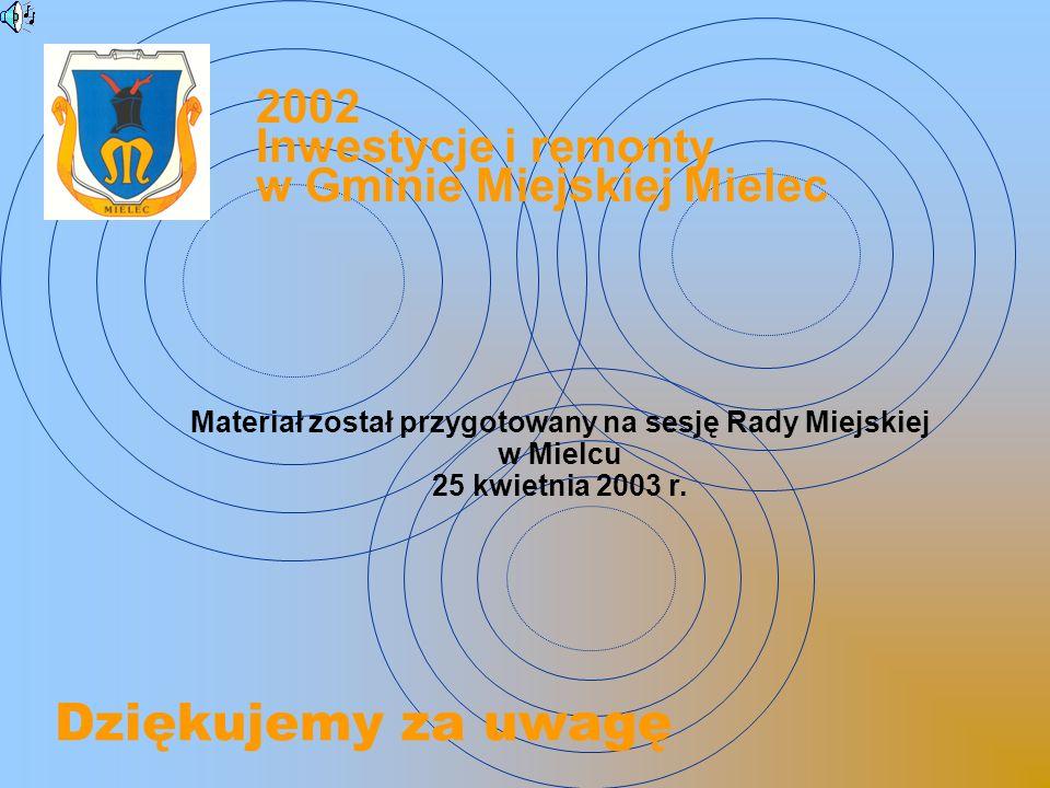 Dziękujemy za uwagę Materiał został przygotowany na sesję Rady Miejskiej w Mielcu 25 kwietnia 2003 r.