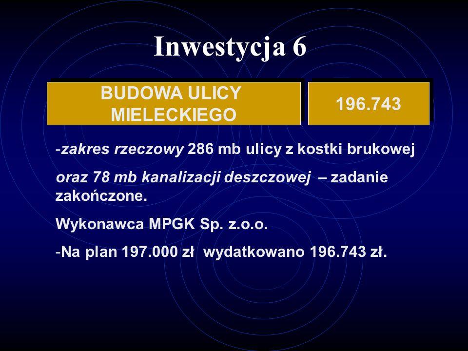 Inwestycja 6 BUDOWA ULICY MIELECKIEGO BUDOWA ULICY MIELECKIEGO 196.743 -zakres rzeczowy 286 mb ulicy z kostki brukowej oraz 78 mb kanalizacji deszczowej – zadanie zakończone.