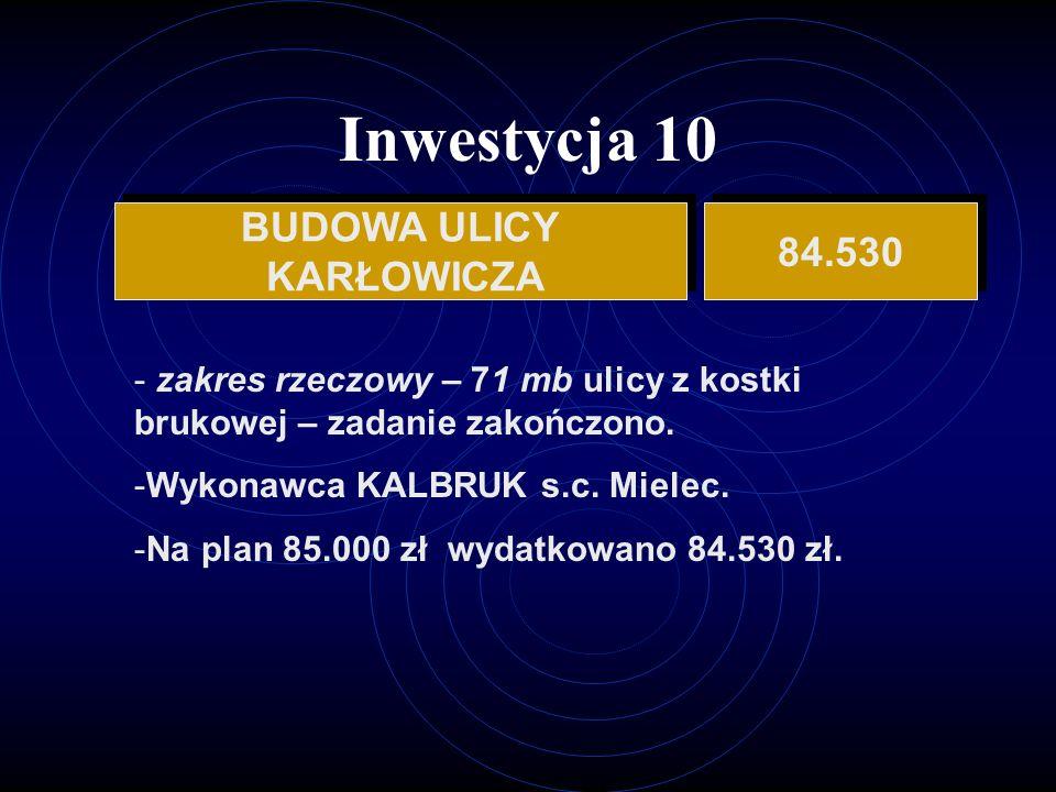 Inwestycja 10 BUDOWA ULICY KARŁOWICZA BUDOWA ULICY KARŁOWICZA 84.530 - zakres rzeczowy – 71 mb ulicy z kostki brukowej – zadanie zakończono.