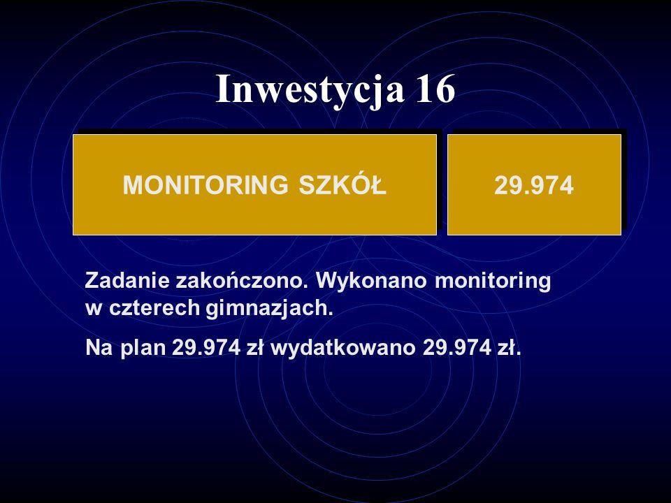 Inwestycja 16 MONITORING SZKÓŁ 29.974 Zadanie zakończono.