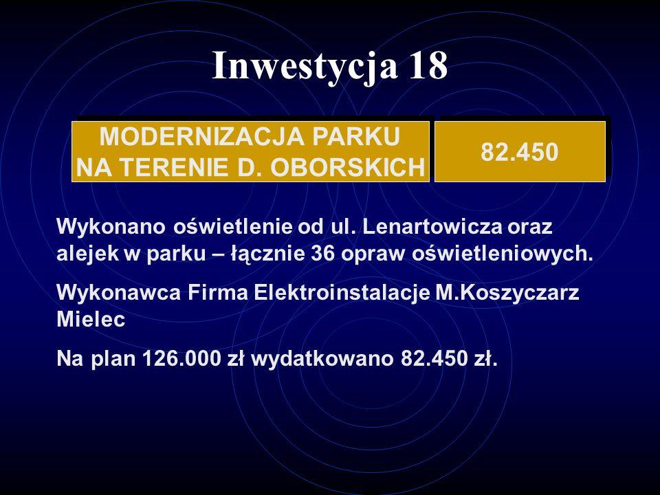Inwestycja 18 MODERNIZACJA PARKU NA TERENIE D.OBORSKICH MODERNIZACJA PARKU NA TERENIE D.