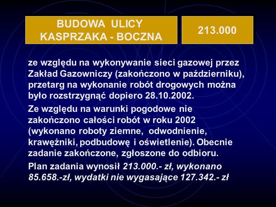 ze względu na wykonywanie sieci gazowej przez Zakład Gazowniczy (zakończono w październiku), przetarg na wykonanie robót drogowych można było rozstrzygnąć dopiero 28.10.2002.