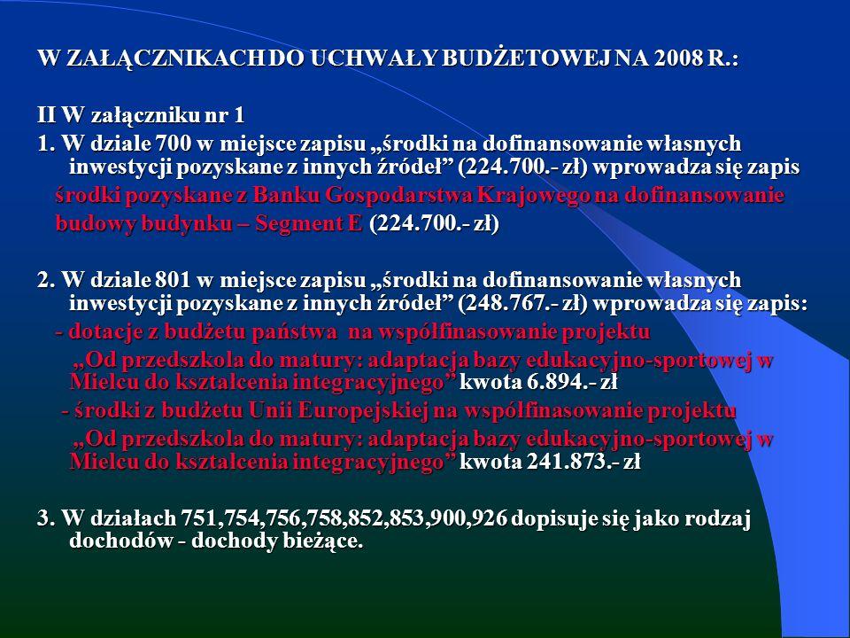W ZAŁĄCZNIKACH DO UCHWAŁY BUDŻETOWEJ NA 2008 R.: II W załączniku nr 1 1.