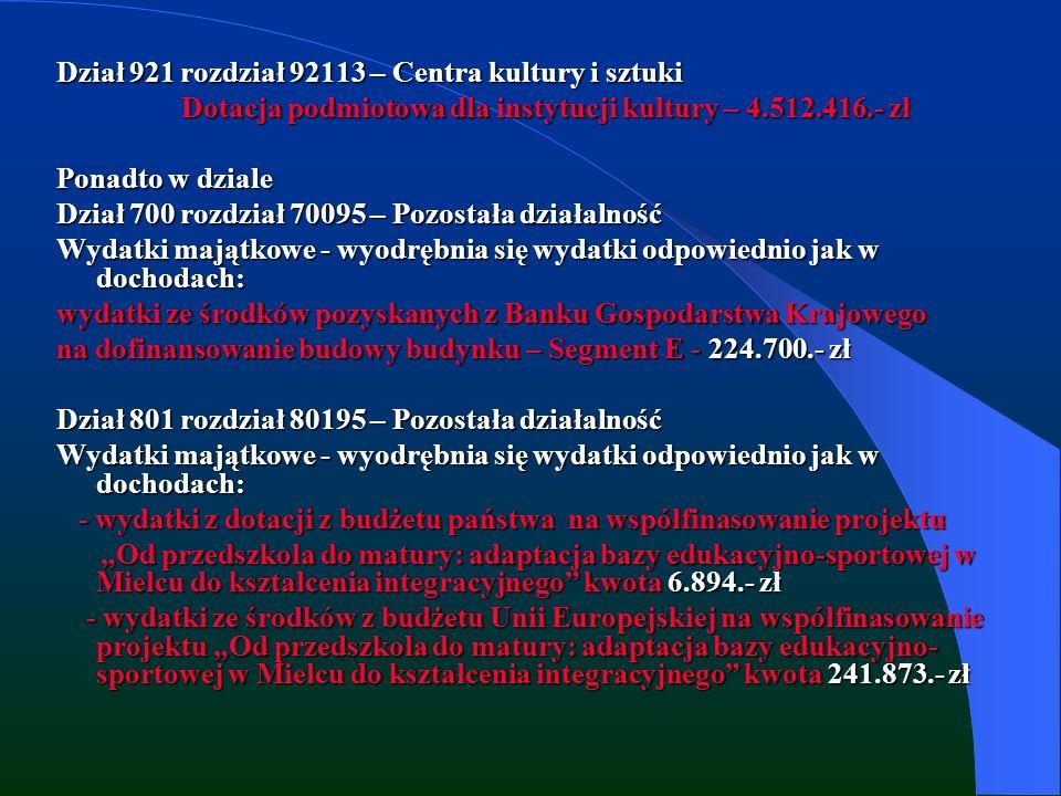 Dział 921 rozdział 92113 – Centra kultury i sztuki Dotacja podmiotowa dla instytucji kultury – 4.512.416.- zł Dotacja podmiotowa dla instytucji kultury – 4.512.416.- zł Ponadto w dziale Dział 700 rozdział 70095 – Pozostała działalność Wydatki majątkowe - wyodrębnia się wydatki odpowiednio jak w dochodach: wydatki ze środków pozyskanych z Banku Gospodarstwa Krajowego na dofinansowanie budowy budynku – Segment E - 224.700.- zł Dział 801 rozdział 80195 – Pozostała działalność Wydatki majątkowe - wyodrębnia się wydatki odpowiednio jak w dochodach: - wydatki z dotacji z budżetu państwa na współfinasowanie projektu - wydatki z dotacji z budżetu państwa na współfinasowanie projektu Od przedszkola do matury: adaptacja bazy edukacyjno-sportowej w Mielcu do kształcenia integracyjnego kwota 6.894.- zł Od przedszkola do matury: adaptacja bazy edukacyjno-sportowej w Mielcu do kształcenia integracyjnego kwota 6.894.- zł - wydatki ze środków z budżetu Unii Europejskiej na współfinasowanie projektu Od przedszkola do matury: adaptacja bazy edukacyjno- sportowej w Mielcu do kształcenia integracyjnego kwota 241.873.- zł - wydatki ze środków z budżetu Unii Europejskiej na współfinasowanie projektu Od przedszkola do matury: adaptacja bazy edukacyjno- sportowej w Mielcu do kształcenia integracyjnego kwota 241.873.- zł