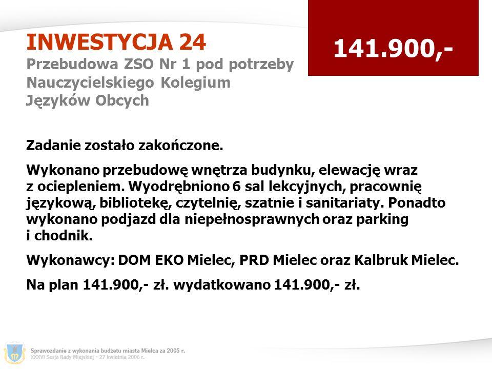 INWESTYCJA 24 Przebudowa ZSO Nr 1 pod potrzeby Nauczycielskiego Kolegium Języków Obcych 141.900,- Zadanie zostało zakończone.