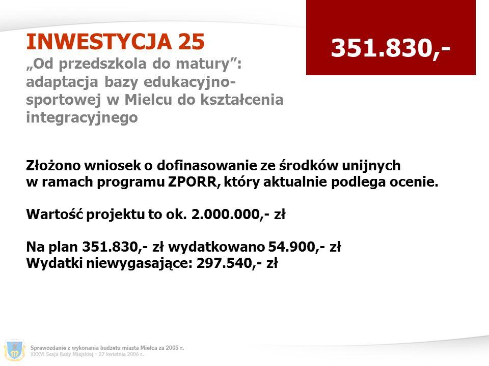 INWESTYCJA 25 Od przedszkola do matury: adaptacja bazy edukacyjno- sportowej w Mielcu do kształcenia integracyjnego 351.830,- Złożono wniosek o dofinasowanie ze środków unijnych w ramach programu ZPORR, który aktualnie podlega ocenie.