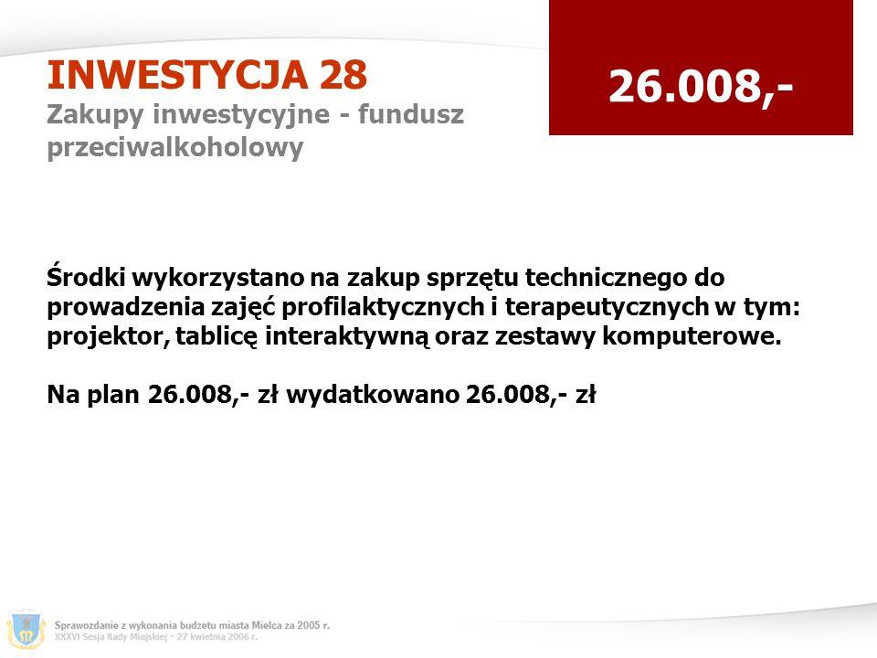 INWESTYCJA 28 Zakupy inwestycyjne - fundusz przeciwalkoholowy 26.008,- Środki wykorzystano na zakup sprzętu technicznego do prowadzenia zajęć profilaktycznych i terapeutycznych w tym: projektor, tablicę interaktywną oraz zestawy komputerowe.