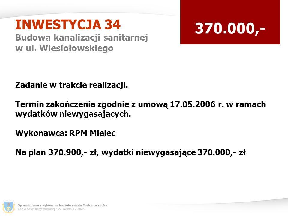 INWESTYCJA 34 Budowa kanalizacji sanitarnej w ul.
