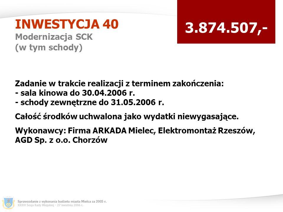 INWESTYCJA 40 Modernizacja SCK (w tym schody) 3.874.507,- Zadanie w trakcie realizacji z terminem zakończenia: - sala kinowa do 30.04.2006 r.
