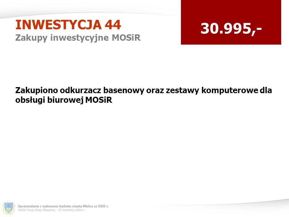 INWESTYCJA 44 Zakupy inwestycyjne MOSiR 30.995,- Zakupiono odkurzacz basenowy oraz zestawy komputerowe dla obsługi biurowej MOSiR