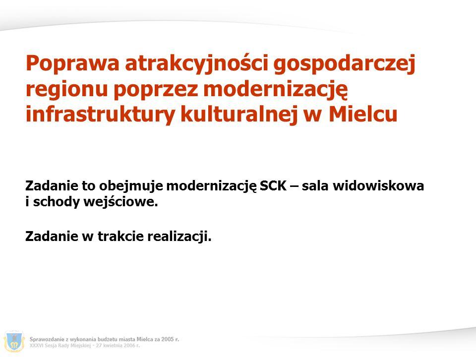 Poprawa atrakcyjności gospodarczej regionu poprzez modernizację infrastruktury kulturalnej w Mielcu Zadanie to obejmuje modernizację SCK – sala widowiskowa i schody wejściowe.